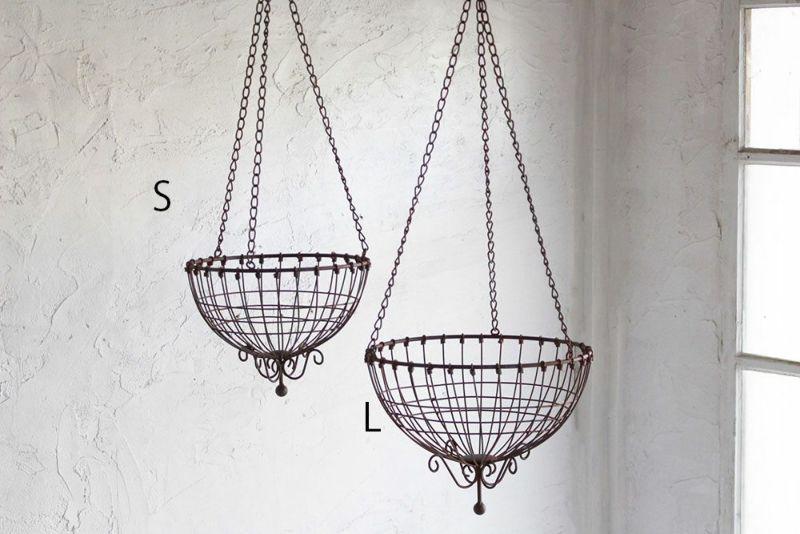 鉄製のアンティーク調吊るしバスケット