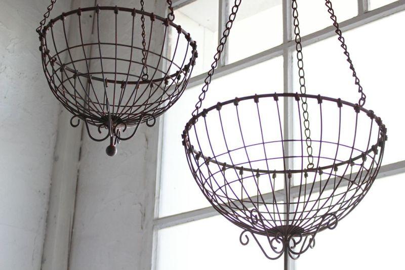 ワイヤー製アンティーク調吊るしバスケット