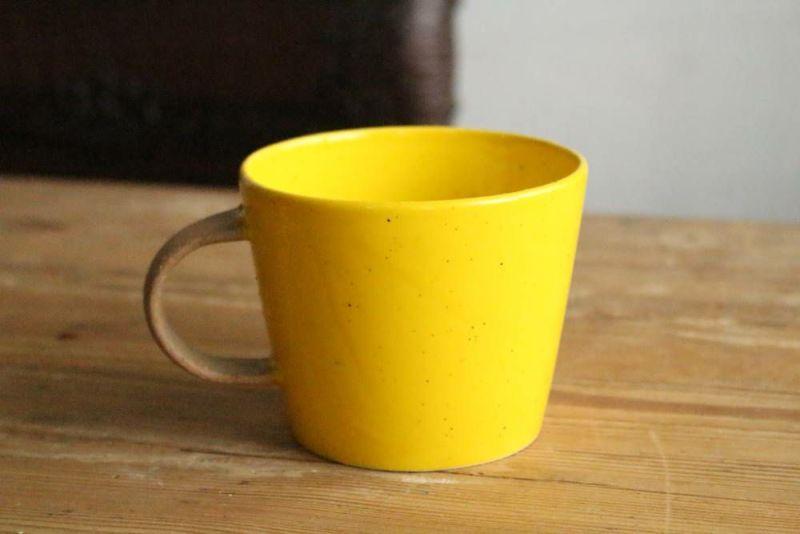 かわいい美濃焼きのマグカップ黄色