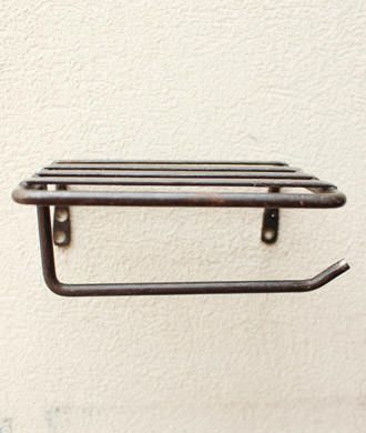 素朴な鉄のトイレットペーパーホルダー(シェルフ付き)