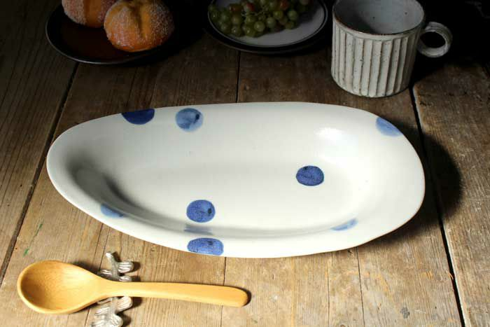 美濃焼・ごす水玉カレー皿