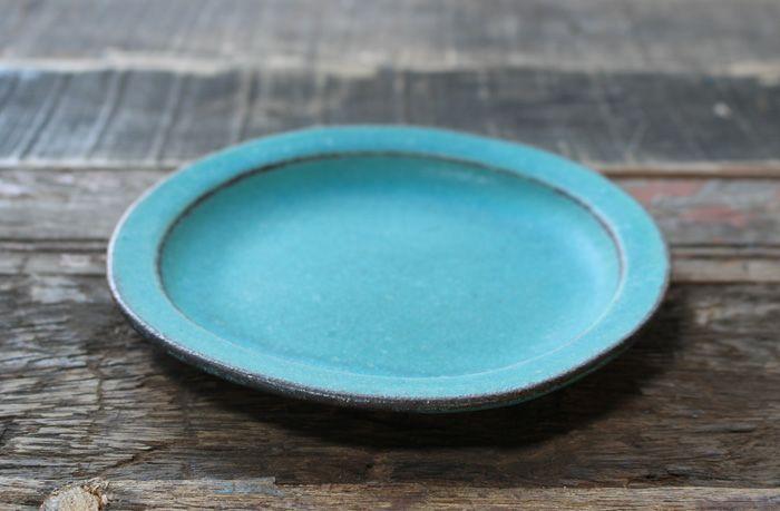 益子焼・シャビーターコイズ丸皿(Sサイズ)
