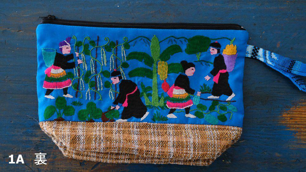 ラオス手刺繍ポーチ(森の動物・森の暮らし)マチあり