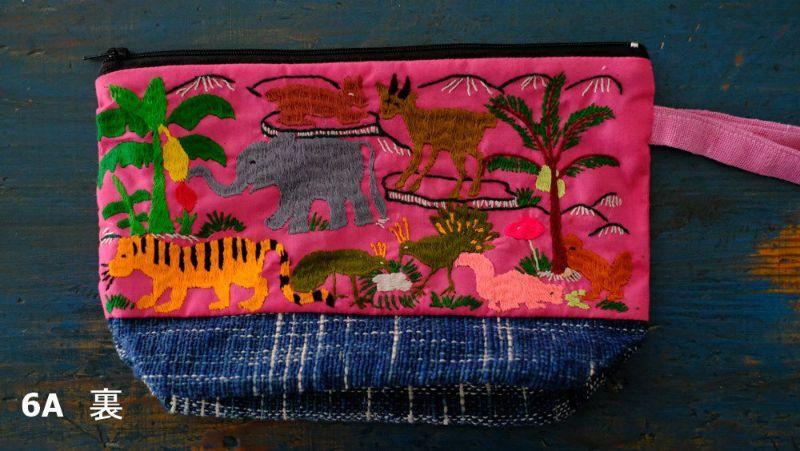 モン族手刺繍ピンク裏