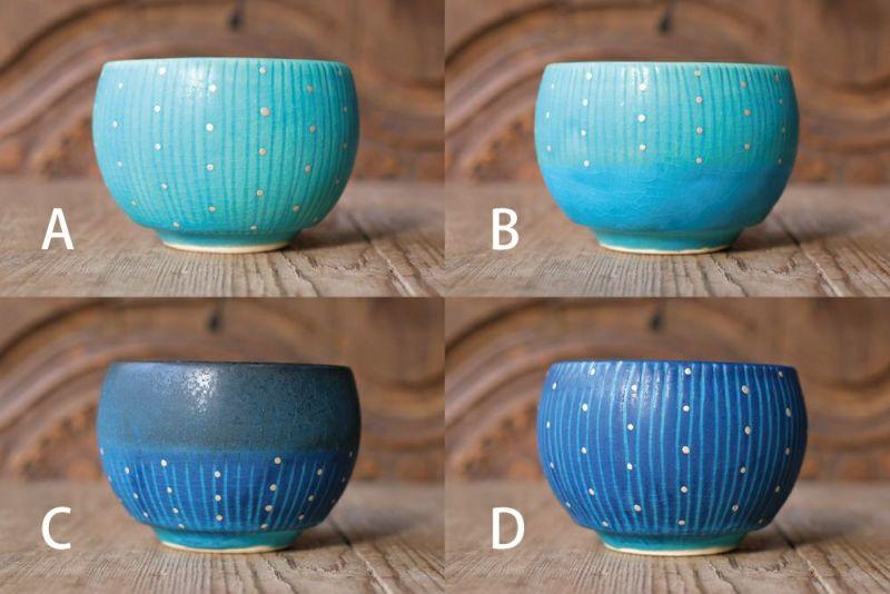 青色の美しい湯のみ