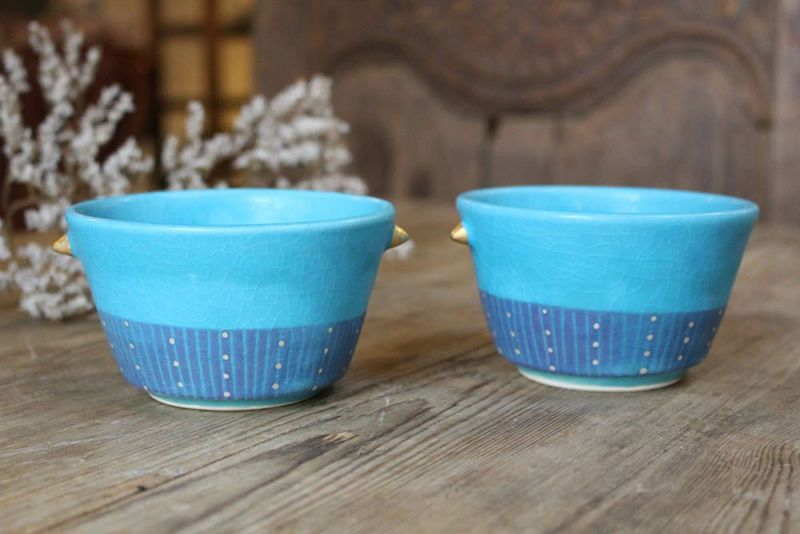 色彩碧釉の耳付き小鉢