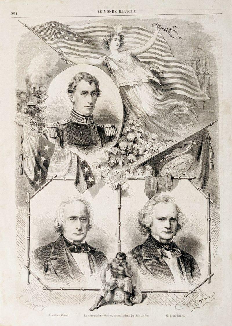フランスのアンティーク新聞の古い絵画挿絵