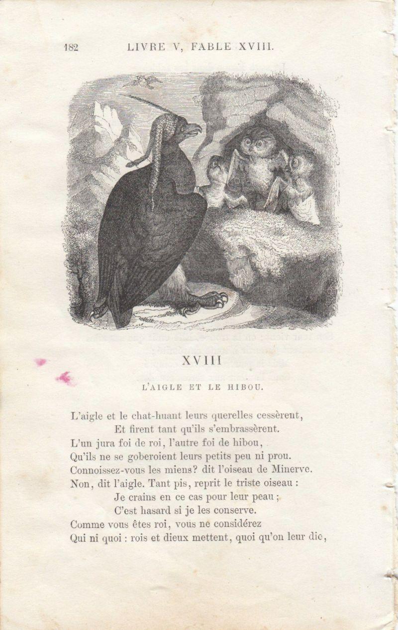 イソップ寓話リトグラフ山羊とオオカミ