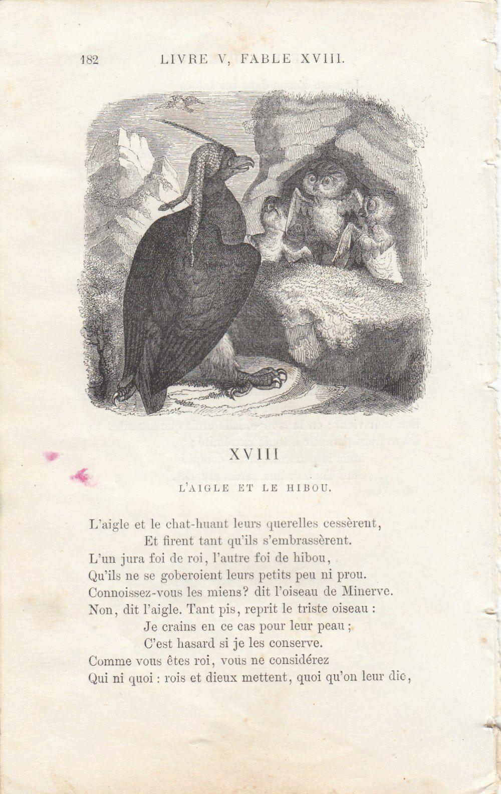 アンティークイソップ童話集リトグラフ/De Grandville図版
