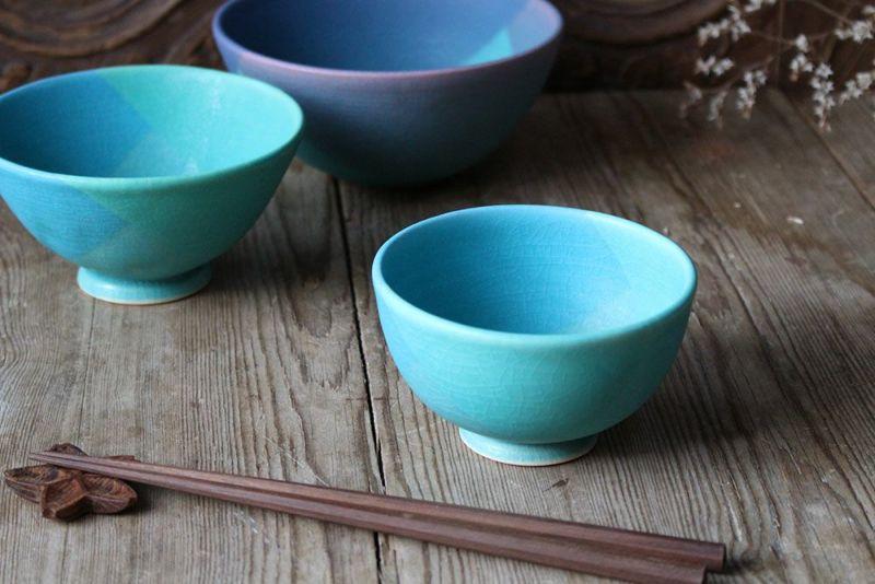 飯沼耕市の色彩碧釉シリーズの茶碗