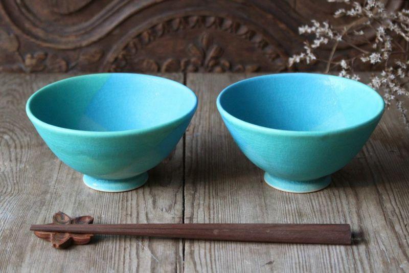 飯沼耕市の色彩碧釉の大きな茶碗