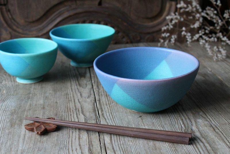 飯沼耕市の色彩碧釉シリーズの器