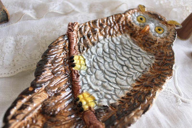 イタリア産のフクロウのかわいい絵皿