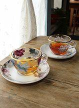 花柄のガラスカップ&ソーサー