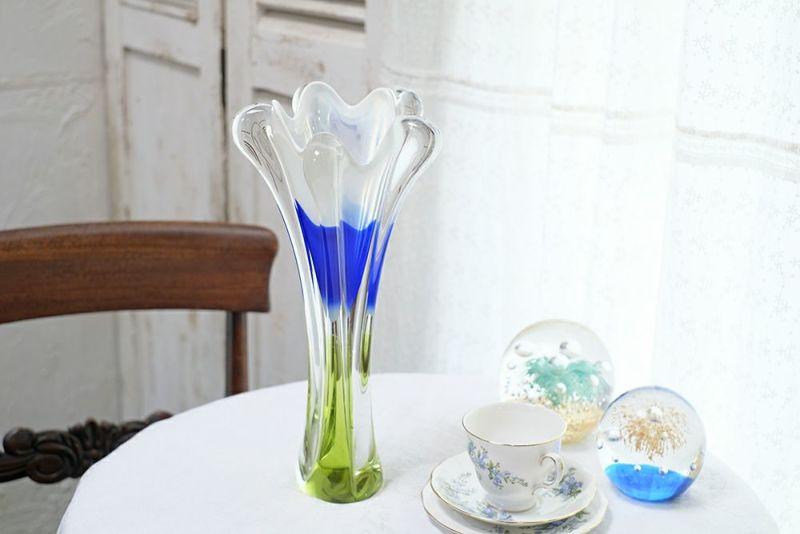 青と緑のビンテージチェコスロバキアガラスアート